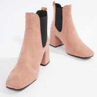 New Look Square Toe Heeled Boot at asos.com