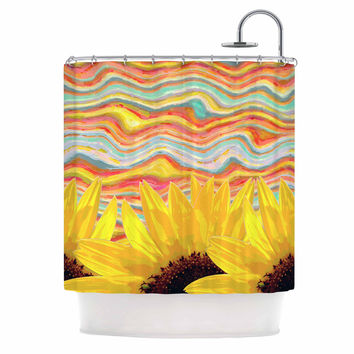 "Suzanne Carter ""Sunflower Dreaming "" Yelllow Teal Shower Curtain"