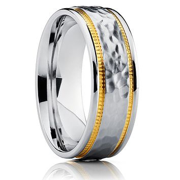 Titanium Wedding Band - Hammered Ring - Men's Titanium Ring - Unique Ring