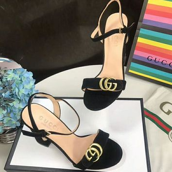 Gucci Simple Pumps Shoes Women Fashion Casual Heels Sandals Shoes Black