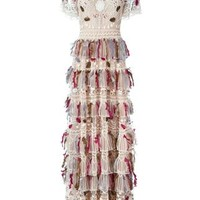 Valentino Beaded And Feathered Embroidered Gown - O' - Farfetch.com