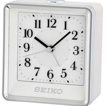 Seiko Bedside Alarm Clock with Beep Alarm and Flash Alert - White / Silver Case