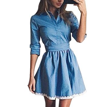 Full Sleeve 2017 Fashion Women Casual Dress Autumn Vintage Cute Lace Patchwork Slim Blue Denim Party Mini Dresses
