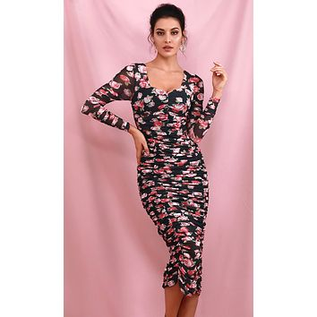 All A Bloom Black Pink Rose Floral Pattern Long Sleeve Sweetheart Neck Ruched Bodycon Midi Dress