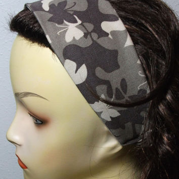 Butterfly Camo Headband Wide Wrap Around Fabric Head Wrap