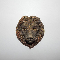Lion head handmade of clay, Lion pendant necklace or pin, Lion totem animal, Lion brooch, Lion jewelry, lion talisman, Lion zodiac, big cat