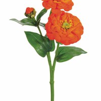 "Orange Artificial Zinnia Flowers with Waterproof Stem - 13"" Tall"