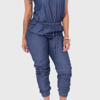 Blue Drawstring High Waisted Long Denim Jumpsuit