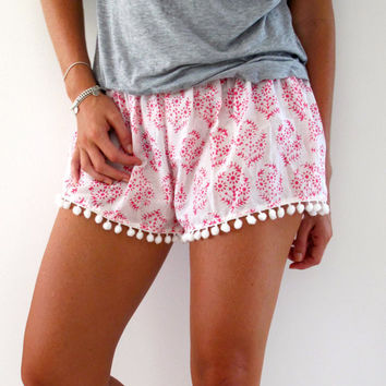 Bright Pink Patterned Pom Pom Shorts - 1970s inspired shorts with Pom Poms