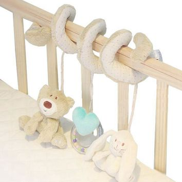 Cute Bear Rabbit Infant Babyplay Activity Spiral Bed & Stroller Toy Set Hanging Bell Crib Cot Spiral Rattle Toys for Baby