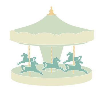 Carousel| Printable carousel illustration | Nursery art | Instant download