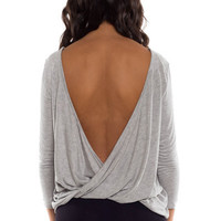 Turn Around Draping Twist Open Back Jersey Top - Light Heather Gray