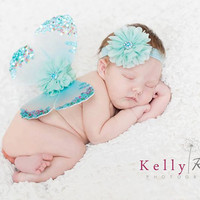 Newborn baby girls butterfly wings headband set vintage ocean aqua blue fabric flowers sparkle