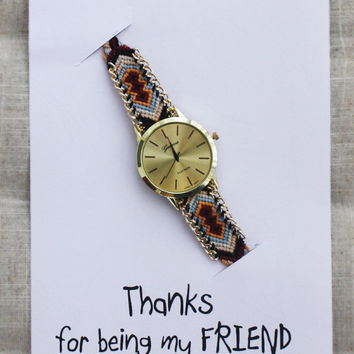 Colorful Band Casual Wrist Watch Unisex Gift Thanks For Being My Friend Card Watch