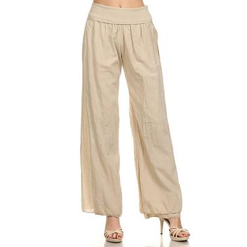 Voile Wide Leg Pants - Khaki