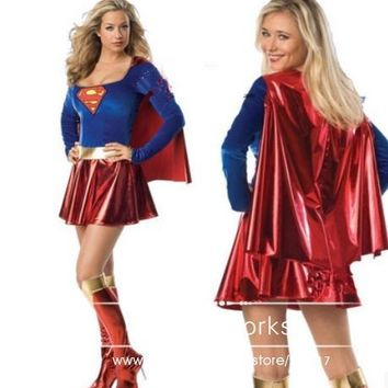 Super girl Adult Sexy Super woman Super hero  adult superwoman costume Halloween Costume Cosplay Dress&Cloak