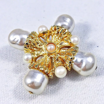 Gold and pearl brooch pin, St. John brooch, 1970s vintage pin, gold cross brooch pin, pearl cross pin, gold scarf pin, pearl coat pin