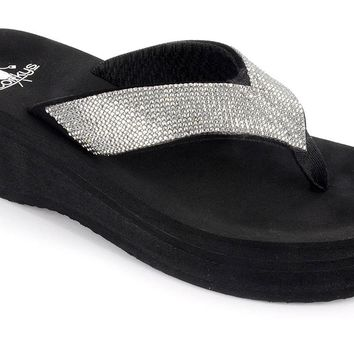 Corky's Jupiter Flip Flop with heel Clear stones