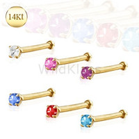 14k Gold Ring Stud Nose Ring with Prong Setting Gem