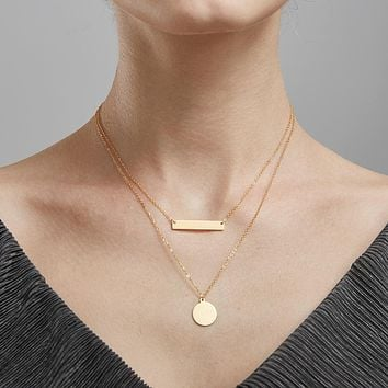 Enfashion Personalized Engrave Custom Name Necklace Gold Color Circle Bar Necklaces Pendants Women Choker Necklace Jewelry