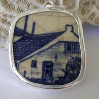 Broken China Necklace Pendant  Chaney Sterling Blue Cabin House Pendant  Fused Glass