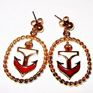 "Red White Anchor Earrings Signed Avon Gold Hoops Post Backs Nautical 1 1/2"" Vintage"
