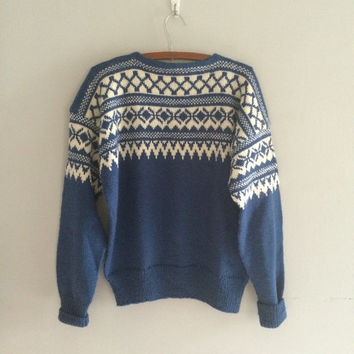 Vintage norwegian wool sweater / ski sweater / nordic sweater / oversized boyfriend sweater / hand knit