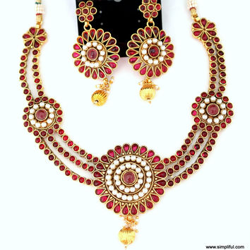 Stunning Maroon Kemp Necklace with Long Earring