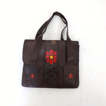 Vintage 1960s 70's Soft Painted Leather Purse Satchel Made in Lebanon Boho Ethnic Handbag Rustic Folk Purse Brown Leather Red Floral Clutch