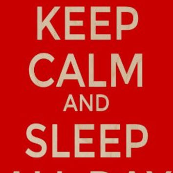 'Keep Calm and Sleep All Day' - Plywood Wood Print Poster Wall Art