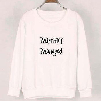 mischief managed sweater White Sweatshirt Crewneck Men or Women for Unisex Size with variant colour