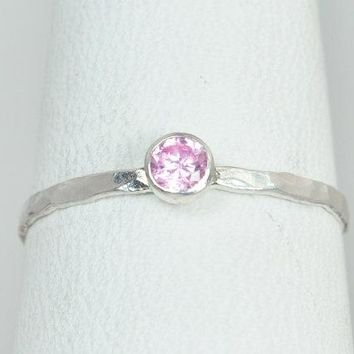 Dainty Pink Tourmaline Silver Ring