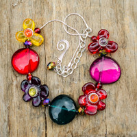 Flower necklace/ Statement collar/ Eccentric necklace/ red purple yellow flowers/ shiny crystal beads/ Bib necklace/ Summer collar necklace