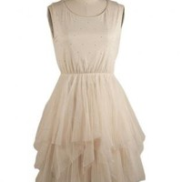 Ballerina Sleeveless Dress with Rhinestone Embellishment
