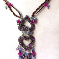 Valentine Pewter heart  duo Crystal and rhinestone beaded necklace