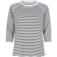 River Island Womens Navy stripe contrast raglan sleeve t-shirt