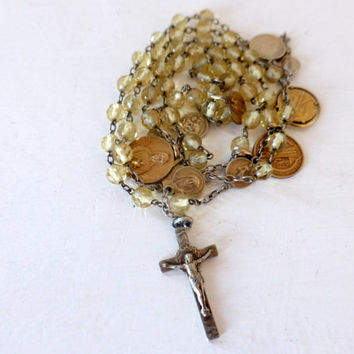 Antique French, Silver Rosary With Medals, SHIPPING INCLUDED