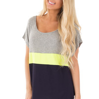 Heather Grey and Neon Yellow Color Block Tunic