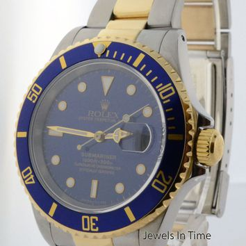 Rolex Submariner 18k Gold & Steel Mens 40mm Automatic Dive Watch 16613