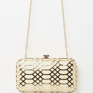 Izoa Grace ivory and gold clutch
