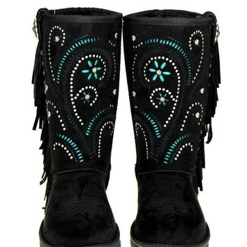 Boho Studs & Swirls Faux Shearling Lined Embroidered Boots
