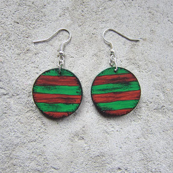 Retro wooden earrings, earrings wood, red, hand painted, handmade, retro wood, christmas gift, christmas sale, gift for her