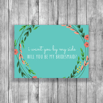 Printable Flower Wreath Will You Be My Bridesmaid Card - Free Maid of Honor Card - Instant Download - BR018