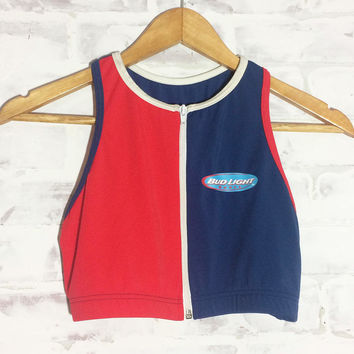 Vintage 90's BUD LIGHT Zipper Sport Top || Racer Back Promo Bra Top || Swim Top || Americana Top || Size Small