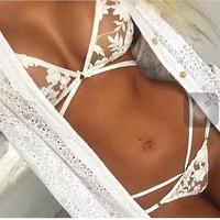 CUTE SEXY LACE WHITE PERSPECTIVE CROSS TWO PIECE BIKINI