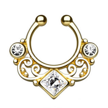 Lace Swirl Gem CZ Gold Faux Septum Hanger