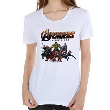 Comics Cast 3D Anime Tee Avengers movies print t shirt women Superhero Top 2018 funny t shirts camisetas mujer iron Man L19-49