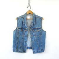 Vintage jean vest. button up denim layer vest. Sleeveless jean jacket