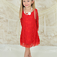 Red Vintage Lace Shift Dress