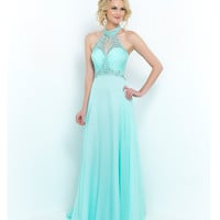 Aquamarine Green Beaded Halter Ruched Bust Chiffon Dress